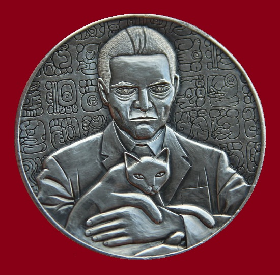 A Man and a cat. Portrait of the famous Russian scientist - linguist Yuri Knorozov, known for his interpretation of Mayan writing. Manual engraving on a Mexican silver coin