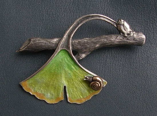 Snail on a slope brooch pin. Sterling silver 925, gold 585, hot enamel. 6cm