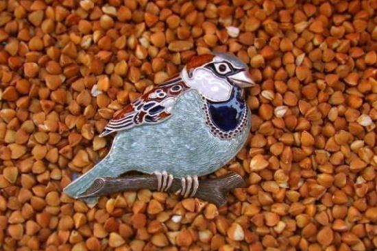 Sparrow brooch. Sterling silver, hot enamel, topaz. 5 cm