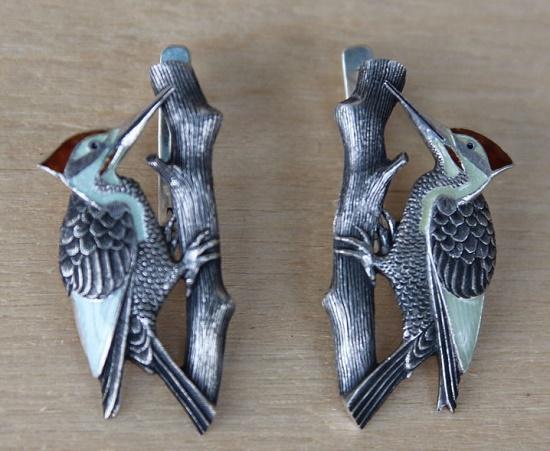 Woodpeckers earrings. Silver, hand engraved, hot enamel. 3.5 cm