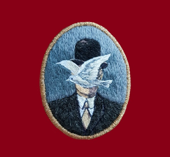 Man in a Bowler Hat. Hand embroidered brooch. 6.6 cm