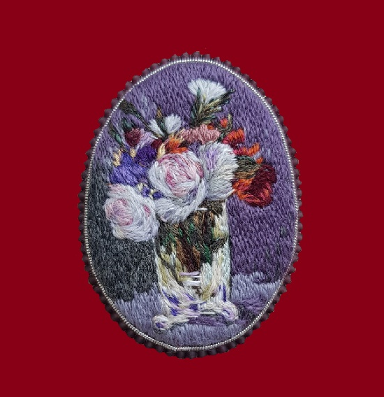 Manet flowers brooch. 6 cm